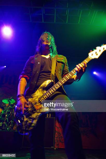 Tobin Esperance of Papa Roach performs on stage at Manchester Academy on April 16 2009 in Manchester England