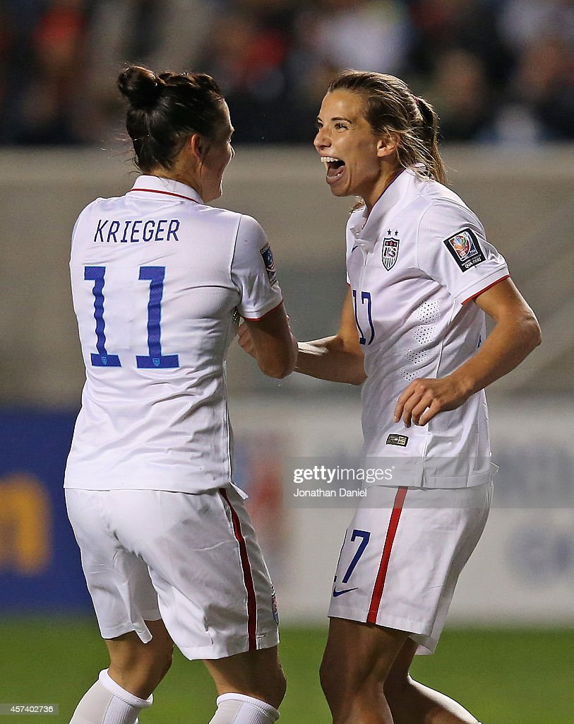 <a gi-track='captionPersonalityLinkClicked' href=/galleries/search?phrase=Tobin+Heath&family=editorial&specificpeople=861695 ng-click='$event.stopPropagation()'>Tobin Heath</a> #17 of the United States celebrates her first half goal with <a gi-track='captionPersonalityLinkClicked' href=/galleries/search?phrase=Ali+Krieger&family=editorial&specificpeople=7227841 ng-click='$event.stopPropagation()'>Ali Krieger</a> #10 against Guatemala during the 2014 CONCACAF Women's Championship at Toyota Park on October 17, 2014 in Bridgeview, Illinois.