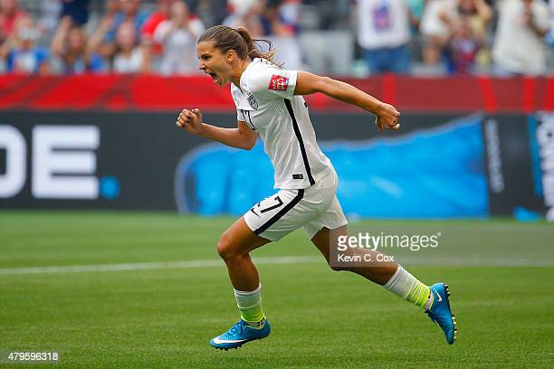 Tobin Heath of the United States celebrates scoring in the second half against Japan in the FIFA Women's World Cup Canada 2015 Final at BC Place...