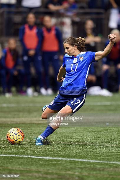 Tobin Heath of the United States takes a shot on goal during the second half of the women's soccer match against China at the MercedesBenz Superdome...