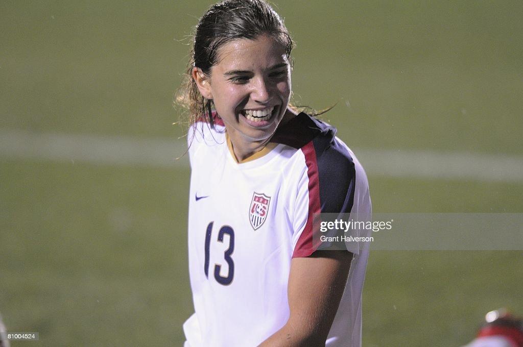 Tobin Heath of the US Women's National Team has a laugh during an international friendly match against the Australian Women's National Team on April...