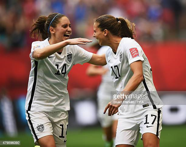 Tobin Heath of USA celebrates scoring the fifth goal with Morgan Brian during the FIFA Women's World Cup Final between USA and Japan at BC Place...