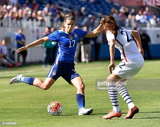 Tobin Heath of USA plays against Amel Majri of France during an international friendly match in the SheBelieves Cup at Nissan Stadium on March 6 2016...