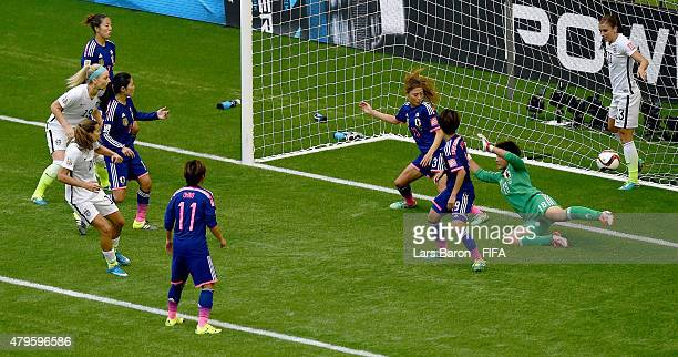 Tobin Heath of USA scores her teams fifth goal during the FIFA Women's World Cup 2015 Final between USA and Japan at BC Place Stadium on July 5 2015...
