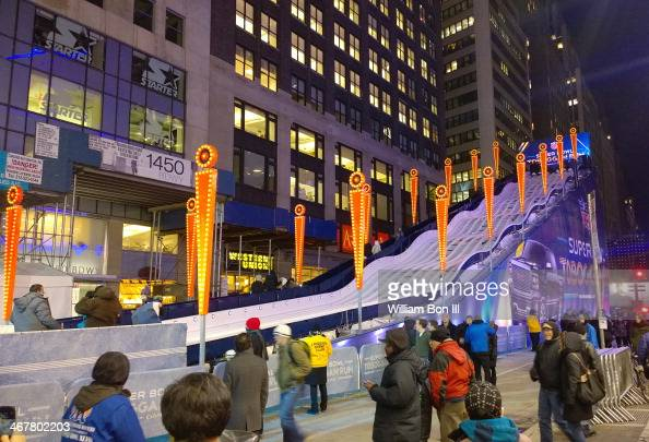 Toboggan Run at Super Bowl Boulevard Times Square New York City Lead up promotion to the 2014 Super Bowl at Met Life Stadium