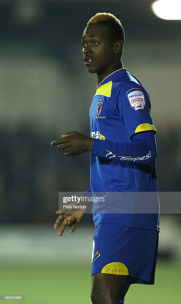 Toby Ajala of AFC Wimbledon in action during the npower League Two match between AFC Wimbledon and Northampton Town at The Cherry Red Records Stadium on February 19, 2013 in Kingston upon Thames, England.