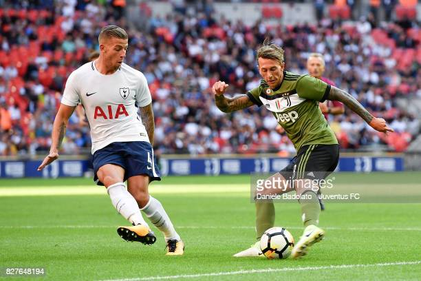 Toby Alderweireld and Federico Bernardeschi during the Tottenham Hotspur v Juventus PreSeason Friendly match at Wembley Stadium on August 5 2017 in...