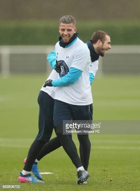 Toby Alderweireld and Pau Lopez of Tottenham during the Tottenham Hotspur training session at Tottenham Hotspur Training Centre on February 2 2017 in...