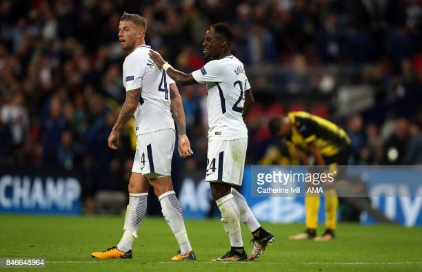 Toby Alderweireld and Serge Aurier of Tottenham Hotspur during the UEFA Champions League group H match between Tottenham Hotspur and Borussia...