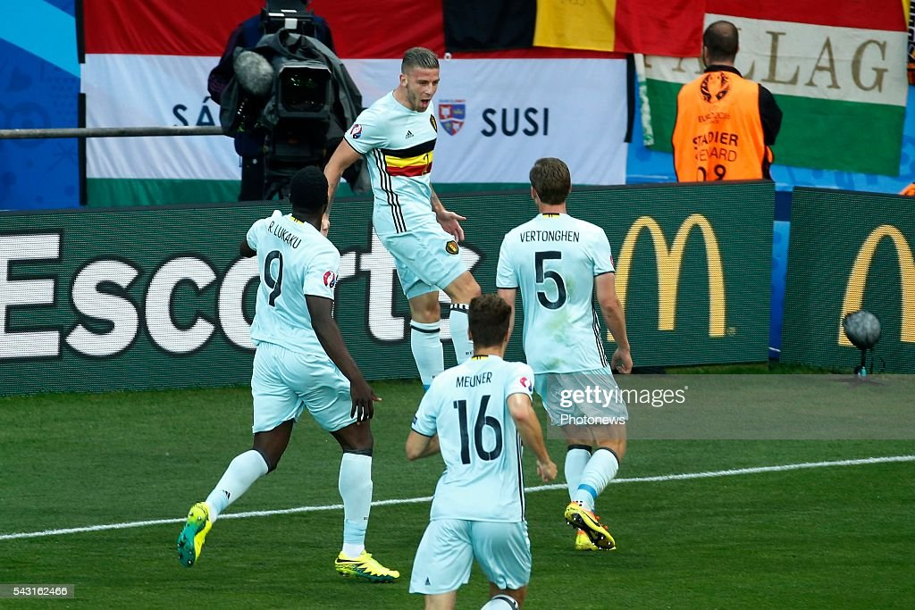 Toby Alderweireld defender of Belgium scores and celebrates during the UEFA EURO 2016 Round of 16 match between Hungary and Belgium at the Stadium Toulouse on June 26, 2016 in Toulouse, France ,