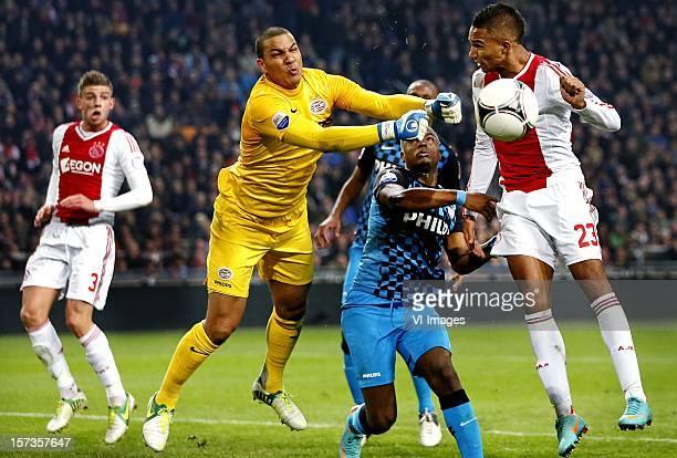 Toby Alderweireld of Ajax Boy Waterman of PSV Jetro Willems of PSV Danny Hoessen of Ajax during the Dutch Eredivisie match between Ajax Amsterdam and...