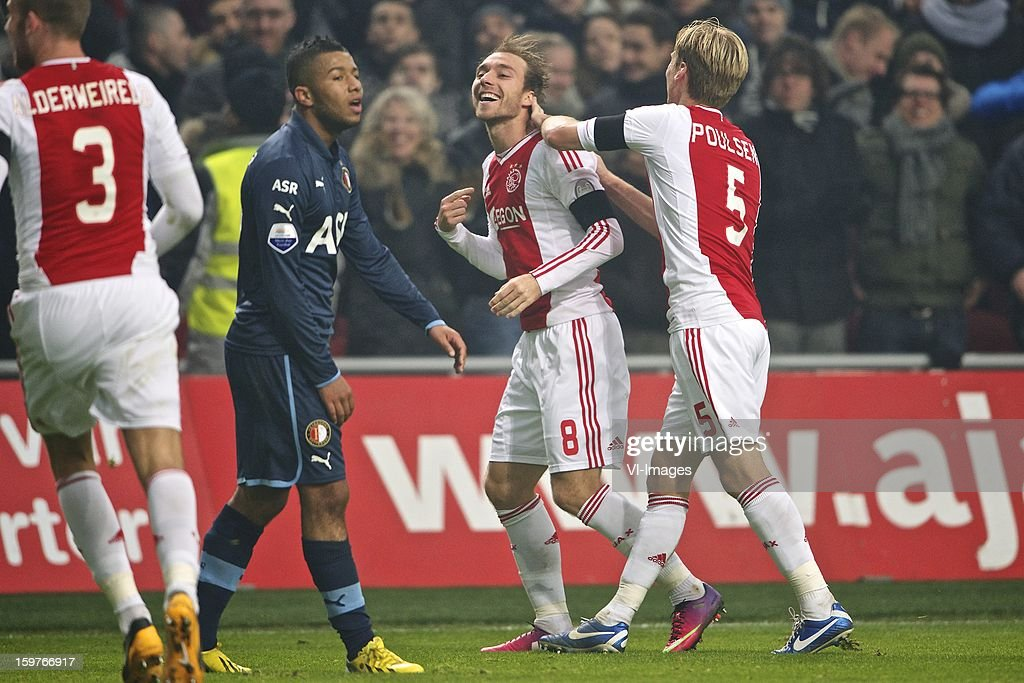 Toby Alderweireld of Ajax, Tony Vilhena of Feyenoord, Christian Eriksen of Ajax, Christian Poulsen of Ajax during the Dutch Eredivise match between Ajax Amsterdam and Feyenoord at the Amsterdam Arena on January 20, 2013 in Amsterdam, The Netherlands.