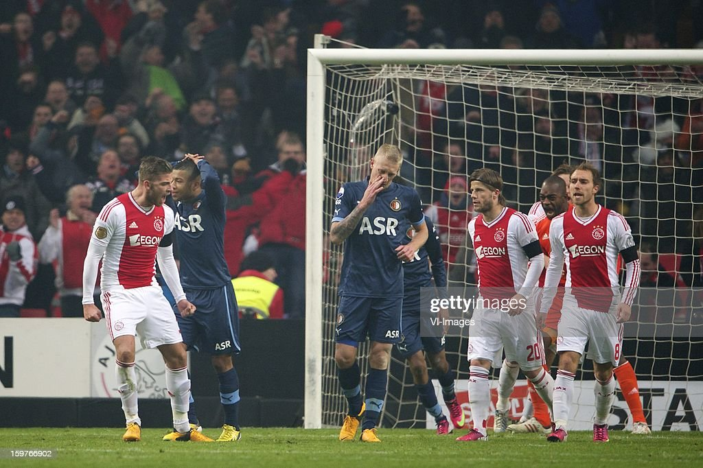 Toby Alderweireld of Ajax, Tony Vilhena of Feyenoord, Lex Immers of Feyenoord, Lasse Schone of Ajax, goalkeeper Kenneth Vermeer of Ajax, Daley Blind of Ajax, Christian Eriksen of Ajax during the Dutch Eredivise match between Ajax Amsterdam and Feyenoord at the Amsterdam Arena on January 20, 2013 in Amsterdam, The Netherlands.