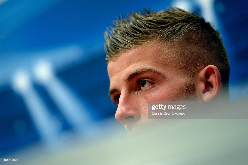 Toby Alderweireld of Amsterdam reacts during a press conference ahead of the UEFA Champions League match against Borussia Dortmund on November 20, 2012 in Amsterdam, Netherlands.