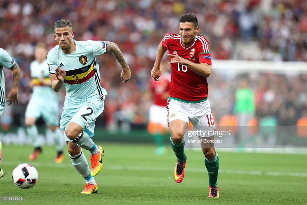 Toby Alderweireld of Belgium and Adam Pinter of Hungary during the European Championship match Round of 16 between Hungary and Belgium at Stadium Municipal on June 26, 2016 in Toulouse, France.