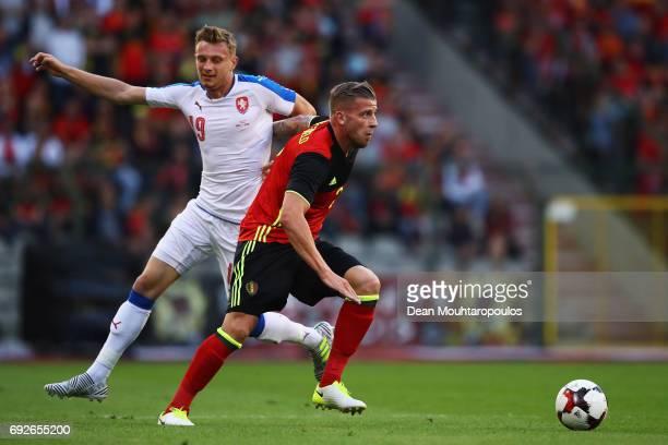 Toby Alderweireld of Belgium battles for the ball with Ladislav Krejci of the Czech Republic during the International Friendly match between Belgium...