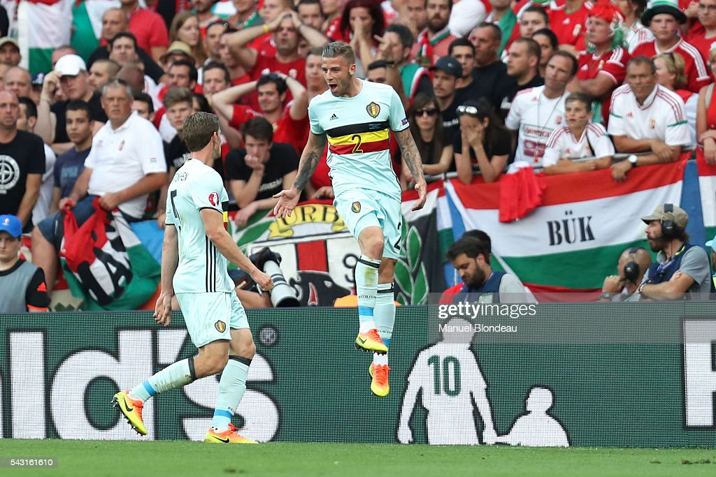 Toby Alderweireld of Belgium celebrates after scoring during the European Championship match Round of 16 between Hungary and Belgium at Stadium Municipal on June 26, 2016 in Toulouse, France.