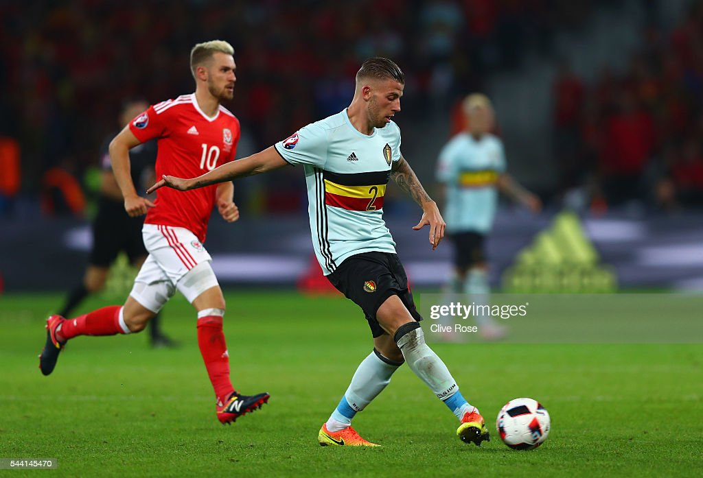 <a gi-track='captionPersonalityLinkClicked' href=/galleries/search?phrase=Toby+Alderweireld&family=editorial&specificpeople=653048 ng-click='$event.stopPropagation()'>Toby Alderweireld</a> of Belgium in action during the UEFA EURO 2016 quarter final match between Wales and Belgium at Stade Pierre-Mauroy on July 1, 2016 in Lille, France.