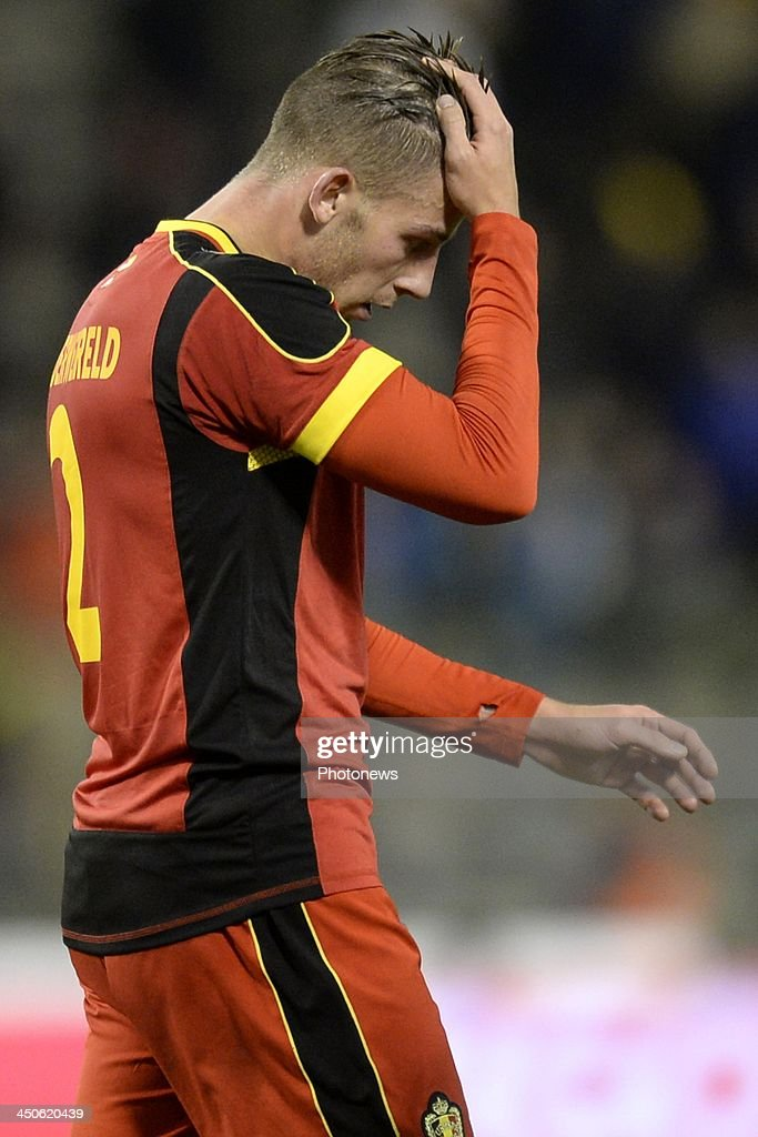 Toby Alderweireld of Belgium shows dejection during the international friendly match before the World Cup in Brasil between Belgium and Japan on November 19, 2013 in Brussels, Belgium