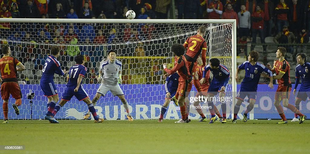 Toby Alderweireld of Belgiums scoring pictured during the international friendly match before the World Cup in Brasil between Belgium and Japan on November 19, 2013 in Brussels, Belgium