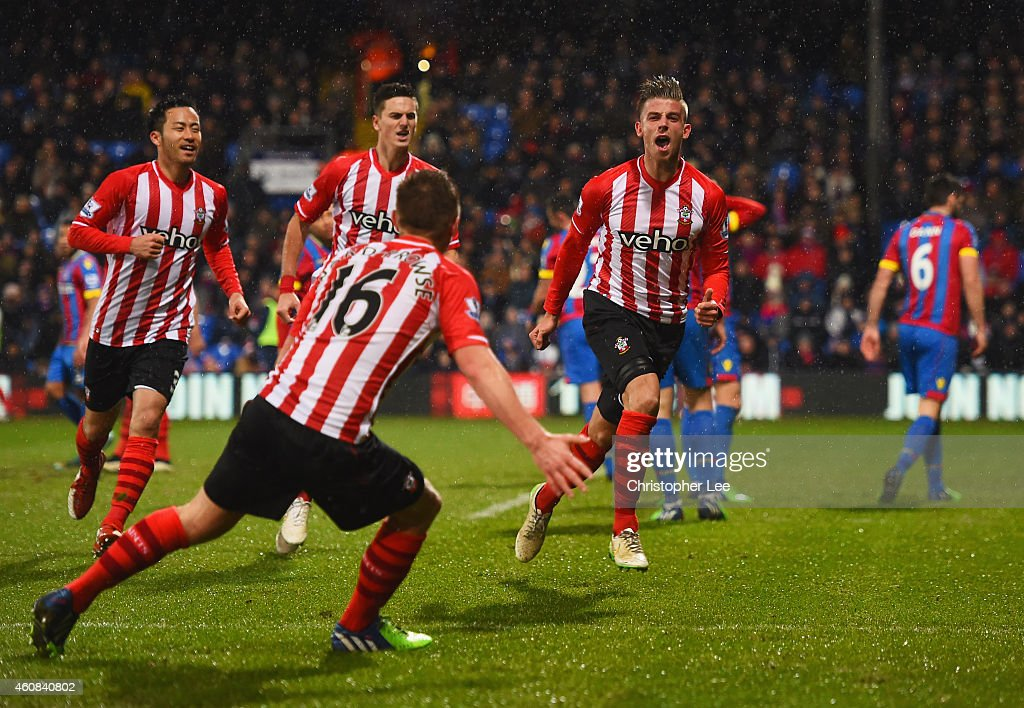 Toby Alderweireld of Southampton celebrates with team mates as he scores their third goal during the Barclays Premier League match between Crystal...