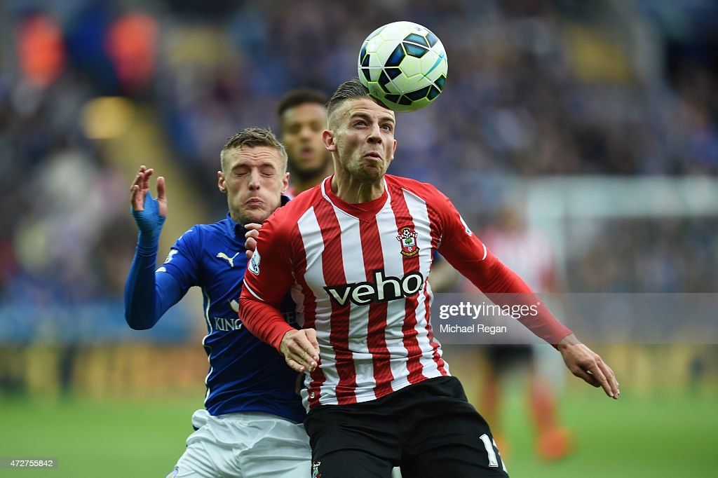 Toby Alderweireld of Southampton holds off Jamie Vardy of Leicester City during the Barclays Premier League match between Leicester City and...