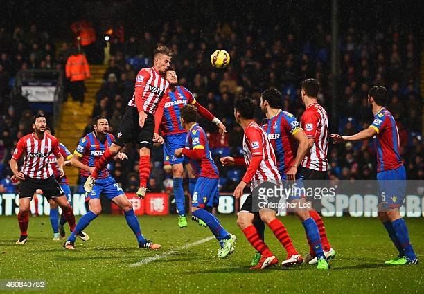Toby Alderweireld of Southampton rises highest to score their third goal with a header during the Barclays Premier League match between Crystal...