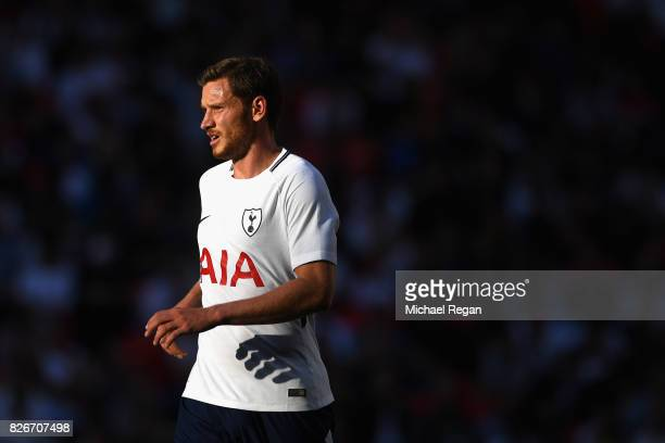 Toby Alderweireld of Spurs during the preseason match between Tottenham Hotspur and Juventus at Wembley Stadium on August 5 2017 in London England