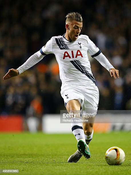 Toby Alderweireld of Spurs in action during the UEFA Europa League Group J match between Tottenham Hotspur and RSC Anderlecht on November 5 2015 in...
