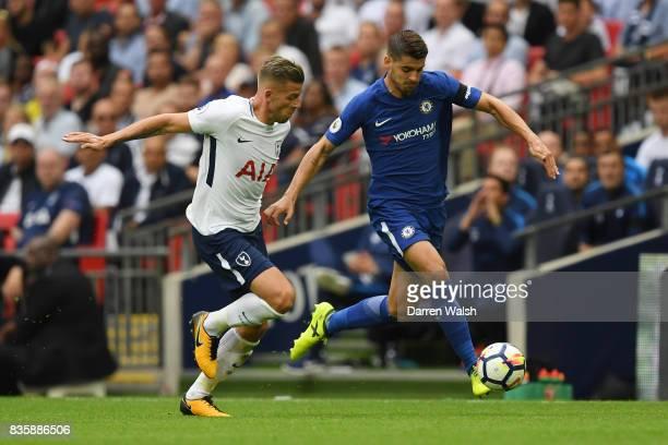 Toby Alderweireld of Tottenham Hotspur and Alvaro Morata of Chelsea battle for possession during the Premier League match between Tottenham Hotspur...