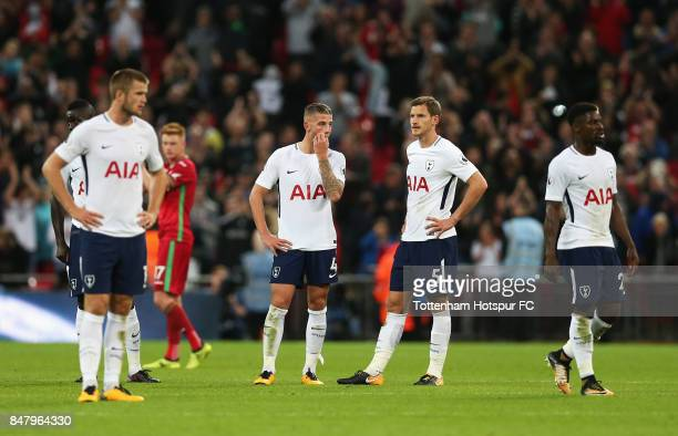 Toby Alderweireld of Tottenham Hotspur and Jan Vertonghen of Tottenham Hotspur look dejected after the Premier League match between Tottenham Hotspur...