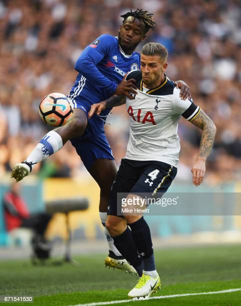 Toby Alderweireld of Tottenham Hotspur and Michy Batshuayi of Chelsea clash during The Emirates FA Cup SemiFinal between Chelsea and Tottenham...