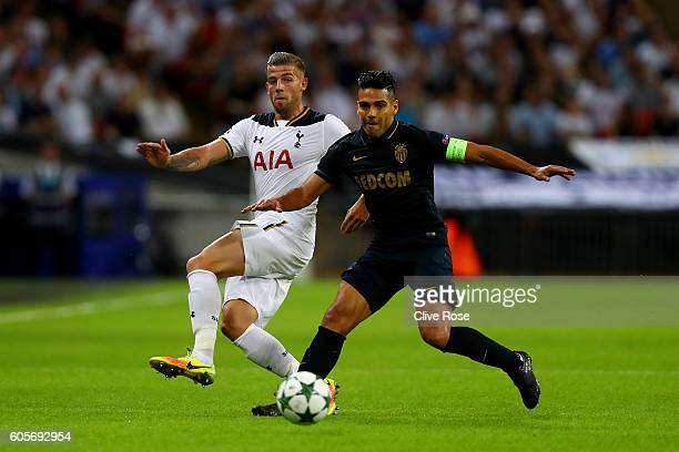 Toby Alderweireld of Tottenham Hotspur and Radamel Falcao Garcia of AS Monaco watch the ball during the UEFA Champions League match between Tottenham...