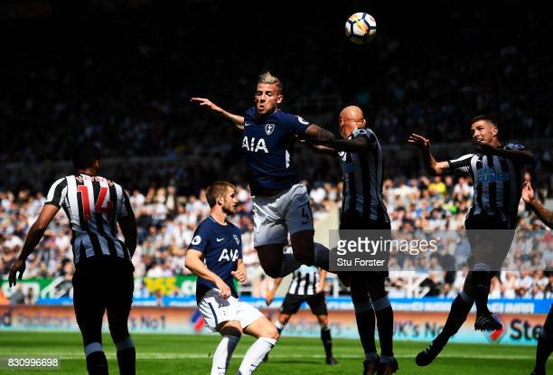Toby Alderweireld of Tottenham Hotspur attempts to head the ball during the Premier League match between Newcastle United and Tottenham Hotspur at St...