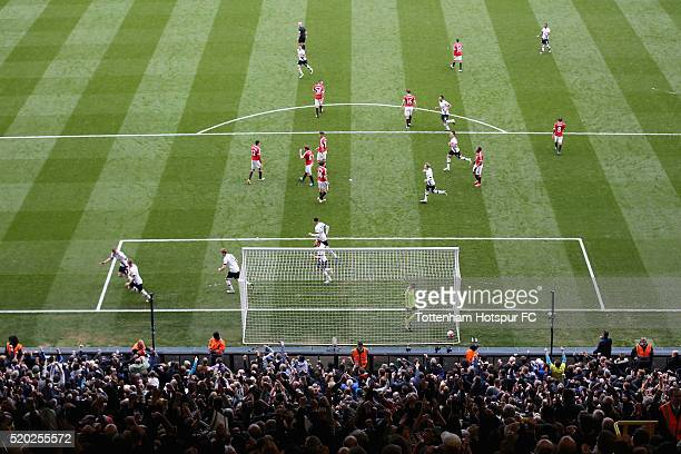 Toby Alderweireld of Tottenham Hotspur celebrates as he scores the second goal during the Barclays Premier League match between Tottenham Hotspur and...