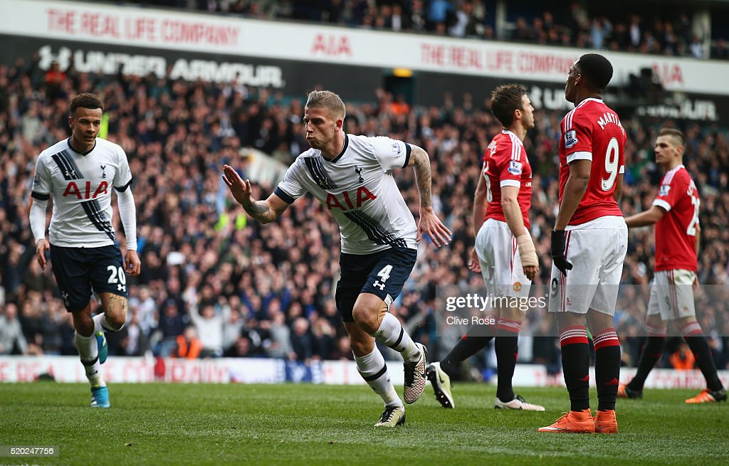 Toby Alderweireld of Tottenham Hotspur celebrates as he scores their second goal during the Barclays Premier League match between Tottenham Hotspur...