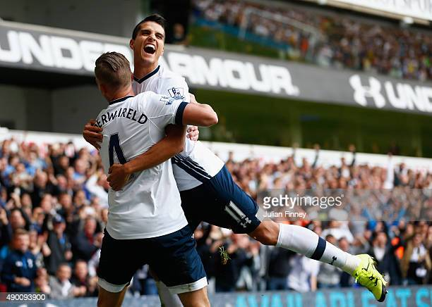 Toby Alderweireld of Tottenham Hotspur celebrates scoring his team's second goal with his team mate Erik Lamela during the Barclays Premier League...
