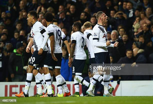 Toby Alderweireld of Tottenham Hotspur celebrates scoring his teams second goal during the Barclays Premier League match between Tottenham Hotspur...