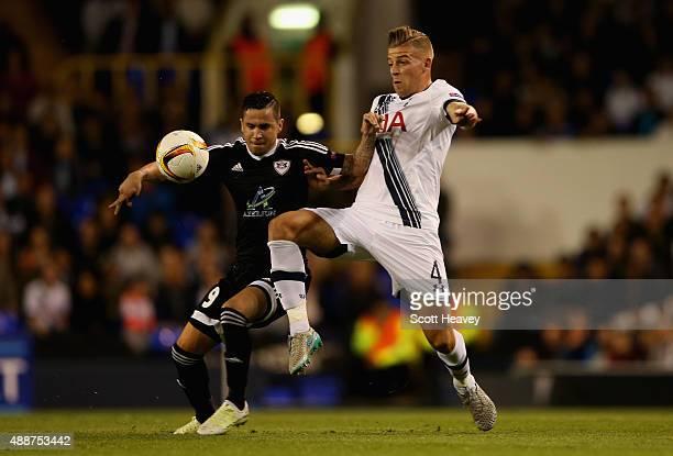 Toby Alderweireld of Tottenham Hotspur challneges Reynaldo of FK Qarabag during the UEFA Europa League Group J match between Tottenham Hotspur FC and...