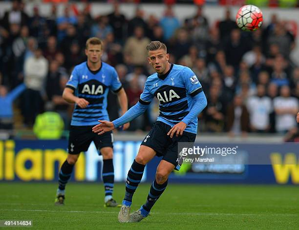 Toby Alderweireld of Tottenham Hotspur during the Barclays Premier League match between Swansea City and Tottenham Hotpsur at the Liberty Stadium on...