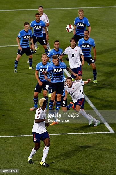 Toby Alderweireld of Tottenham Hotspur heads the ball away on a corner kick by the MLS AllStars during the 2015 ATT Major League Soccer AllStar game...