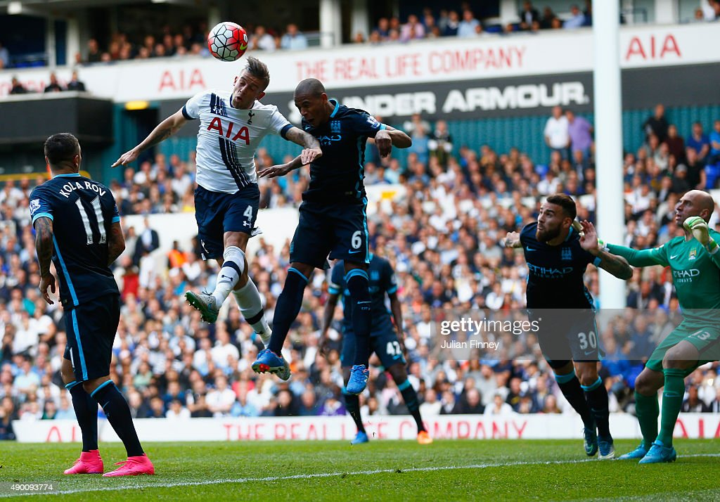 Toby Alderweireld (2nd L) of Tottenham Hotspur scores his team's second goal during the Barclays Premier League match between Tottenham Hotspur and Manchester City at White Hart Lane on September 26, 2015 in London, United Kingdom.
