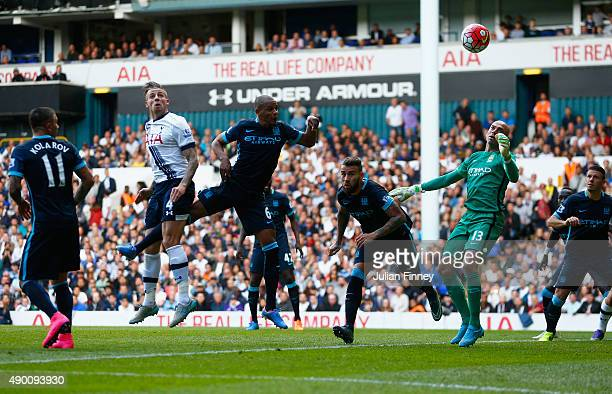 Toby Alderweireld of Tottenham Hotspur scores his team's second goal during the Barclays Premier League match between Tottenham Hotspur and...