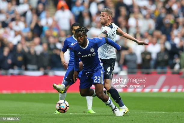 Toby Alderweireld of Tottenham Hotspur tackles Michy Batshuayi of Chelsea during The Emirates FA Cup SemiFinal between Chelsea and Tottenham Hotspur...