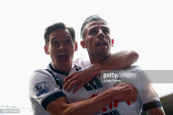 Toby Alderweireld of Tottenham Hotspur with Jan Vertonghen celebrates as he scores their second goal during the Barclays Premier League match between...