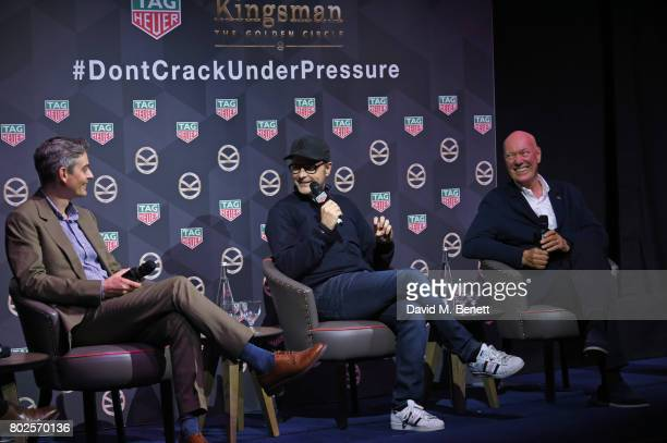 Toby Bateman Managing Director of Mr Porter director Matthew Vaughn and JeanClaude Biver TAG Heuer CEO and President of the LVMH Watch Division speak...