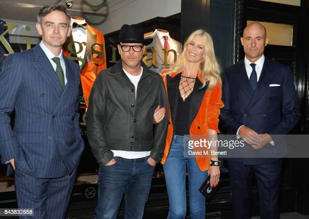 Toby Bateman Matthew Vaughn Claudia Schiffer and Mark Strong attend the launch of the 'Kingsman' shop on St James's Street in partnership with MR...