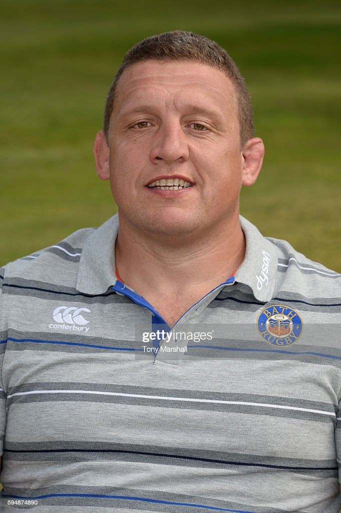 Toby Booth First Team Coach poses for a portrait during the Bath Rugby squad photo call for the 20162017 Aviva Premiership Rugby season on August 24...