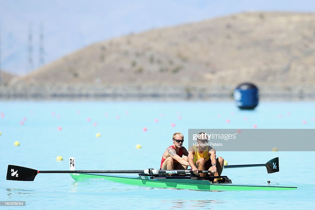 Toby Cunliffe-Steel and Curtis Rapley of Waikato compete in the Men's Lightweight 2- final during the New Zealand Rowing Championships at Lake Ruataniwha on February 22, 2013 in Twizel, New Zealand.