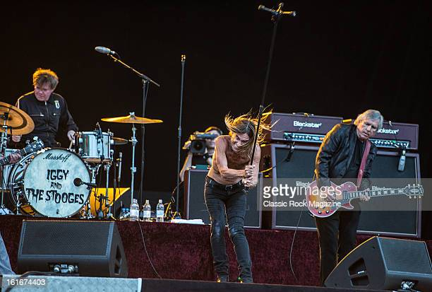 Toby Dammit Iggy Pop and James Williamson of American rock band Iggy and The Stooges performing live onstage at Hard Rock Calling Festival July 13...